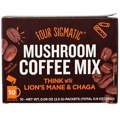 FOUR SIGMATIC Mushroom Coffee Mix Packets  With Lion's Mane & Chaga 10 x 2.5g