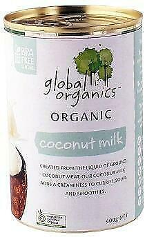Global Organics Coconut Milk 400g Organic Gluten Free Health Food