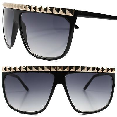 c65cd5010a8b Gold Stud Top Rapper Hip Hop Swag Retro 80s Oversized Square Black Sun  Glasses