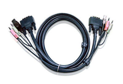 Aten 6ft USB DVI-D Single Link KVM cable Black 1.8 m ATEN