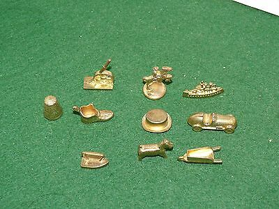 VINTAGE Lot of 10 Gold Monopoly Pewter Replacement Board Game Pieces/Tokes