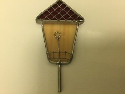 Unique Birdhouse Stained Glass Ornament, Suncatcher, Window Hanging, birding