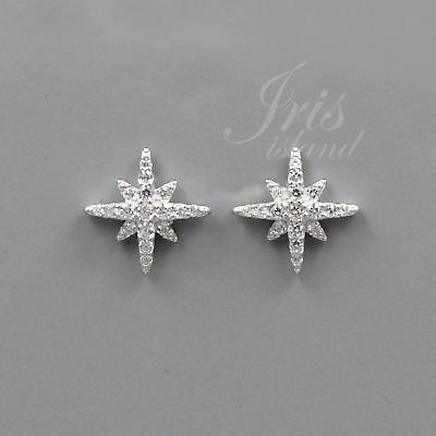 Cubic Zirconia Star 925 Sterling Silver Stud Earrings With Micro Pave 03035