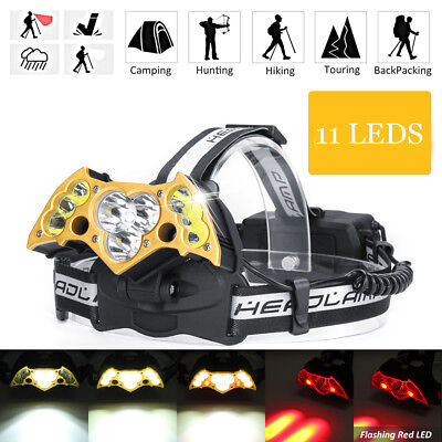 50000LM 11 LED Headlamp Headlight Camping Fishing Working Head Light Lamp Torch
