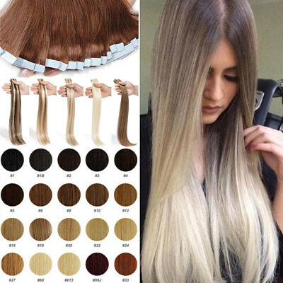 8A 100G Remy Russian Tape In Real Human Hair Extensions Full Head Thick UK STORE