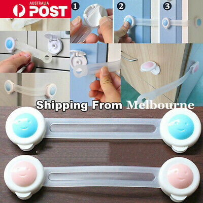 10X Adhesive Child Kids Baby Safety Lock Drawer Door Cabinet Fridge Cupboard AU