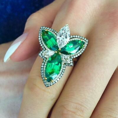 Classic Vintage Green Emerald Gemstone Silver Stainless Steel Rings Jewelry