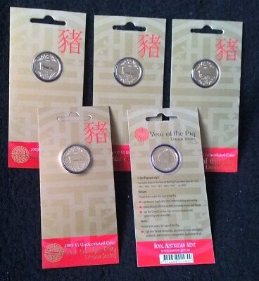 2007 One Dollar X 5 - *year Of The Pig* - Carded - Encapsulated