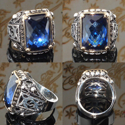 Mens Classic Vintage Princess Blue Sapphire Silver Rings Band Jewelry SZ 6-10