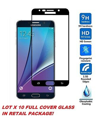 Lot 10 FULL COVER Tempered GLASS Screen Protector FOR LG Samsung MOTO iphone XS