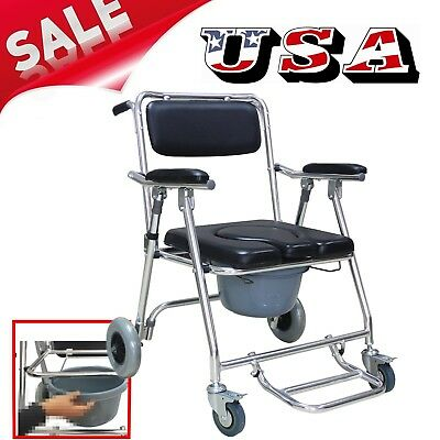Aluminum Commode Wheelchair Toilet &Shower Chair Rolling Chair Self-Transporting