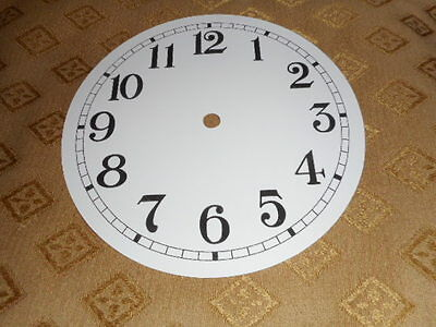 "Round Paper Clock Dial- 5 1/2"" M/T -High Gloss White - Arabic -Face/ Clock Parts"