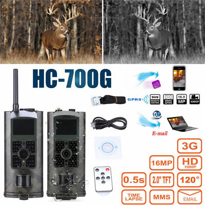 1080P HD Trail Cam 16MP Infrared Scouting Camera 120° 2G 3G GPRS MMS SMS Remote