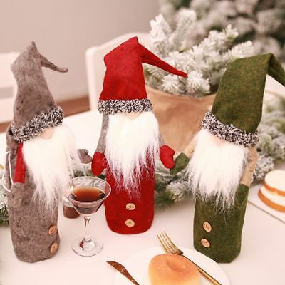 Christmas Santa Snowman Wine Bottle Cover Table Party Decor Xmas Ornament Gift /