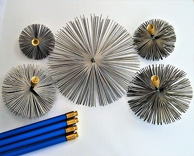 """Steel Chimney Brushes 4""""-12"""" for to fit Bailey Brothers Drain Rods Set Sweep"""