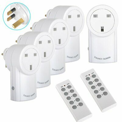 5 Remote Control Socket Wireless Switch Home Mains Pack UK Plug AC Power Outlet