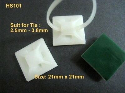 Nylon Self Adhesive Cable Zip Tie Mount Wire Clamp 100 Pcs/Lot HS101W #Agtn