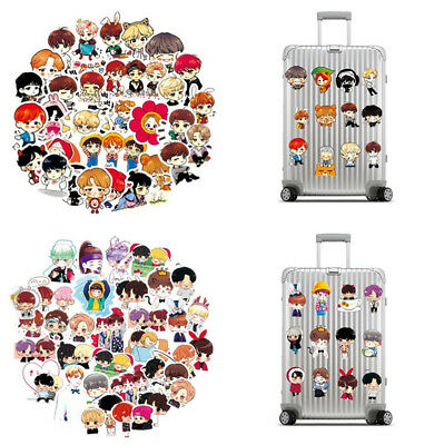 58/63pcs Cute Kpop BTS Bangtan Boys PVC Adhesive Stickers For Laptop Luggage Car