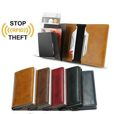 Men's Leather ID Credit Card Holder RFID Protector Money Wallet Clip Card Case