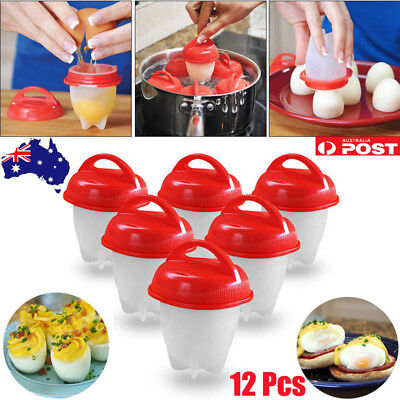 12X Egglettes Egg Cooker Hard Boiled Eggs Without the Shell Red Silicone Egg Cup