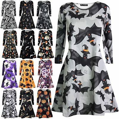 New Womens Ladies Pumpkin Skull Spider Bat Print Skater Swing Dress UK 8-26