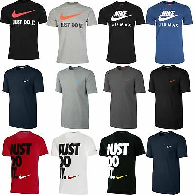 Nike Mens Branded Gym Crew Neck Cap Sleeve JUST DO IT Swoosh Printed T-Shirt Top