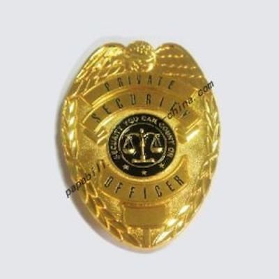 Gold Private Security Officer badge with (seal security you can count on)