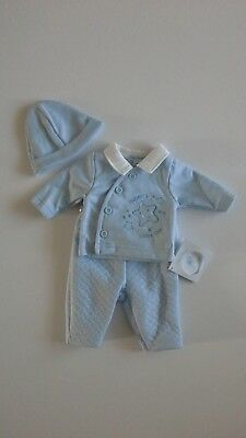 Premature preemie tiny baby boys clothes Spanish style three piece set 3-8 lbs