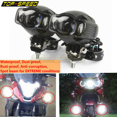 "Motorcycle LED Spotlight Headlight DRL Fog Lamp Fit 1 1/4"" Tubing Universal NEW"