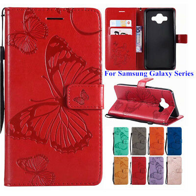For Samsung J6 J7 J8 2018 3D Butterfly Patterned Wallet Leather Stand Case Cover