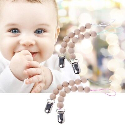 2 Pcs Natural Eco Friendly Pacifier Clip Teether Silicone/Wooden Pacifier Chain