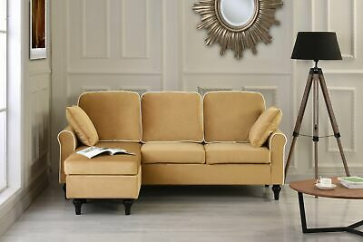 Miraculous Traditional Small Space Velvet Sectional Sofa Couch Reversible Chaise Champagne Download Free Architecture Designs Scobabritishbridgeorg