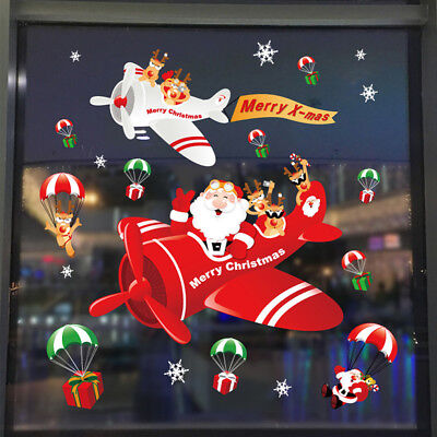 Snowman Santa Claus Deer Static Cling Sticker Christmas Glass Window Decor Nice