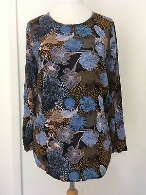 HM MAMA Blue Mustard Floral Long Sleeved Maternity Blouse Tunic Top Size M