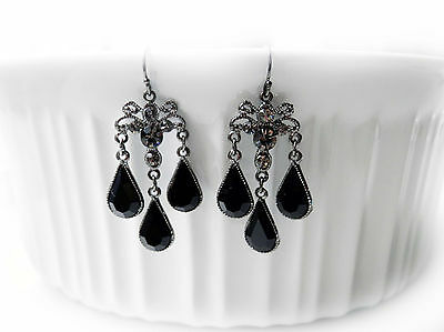 Vintage Style Handmade Chandelier Earrings, Jet Rhinestones Earrings E2253