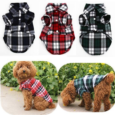 Small Dog Plaid T Shirt Pet Puppy Flannel Doggie Jacket Clothes Blue Green Plaid