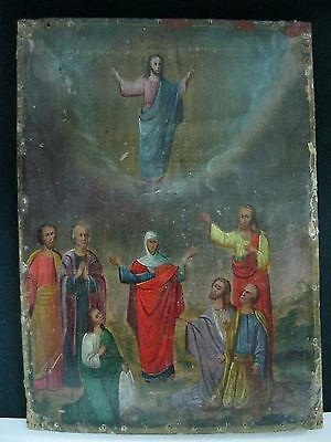 Icon Ascension of God Jesus Christ Orthodox Russian Empire Wood 310x220m