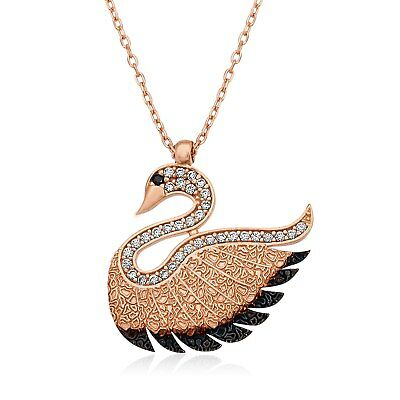 Sterling Silver Swan Pendant Necklace For Women Fine Jewelry