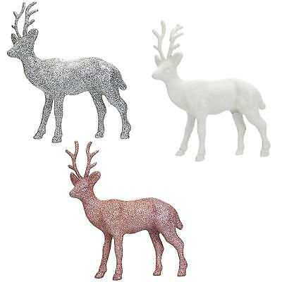 Glitter 17cm Standing Reindeer Stag Christmas Decoration - Choose Colour