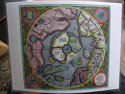 Laminated 1606 Earth Flat Mercator North Pole Hondius Arctic Map 9 x 11.5