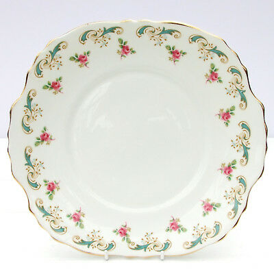 Vintage Crown Staffordshire Wentworth Bone China Cake Plate Pink Roses Floral