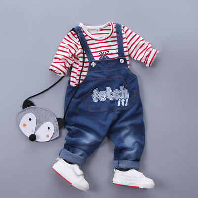 Baby Boy Casual Clothes Clothing Sets Kids Girl Outfits Suits Tops + Overalls