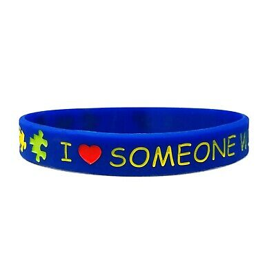 Autism Awareness Love Wristband Navy Blue Silicone Band Men Womens Autistic ASD