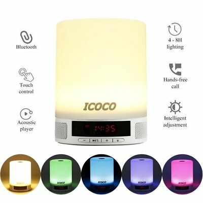 Night Light Bluetooth Speaker Touch Control Colorful LED Bedside Alarm Room  MA