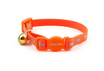 Ancol Hi Vis Reflective Orange Kitten Safety Collar Cat Small Buckle Safe Bell