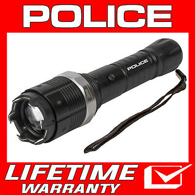 POLICE METAL STUN GUN Rechargeable T10 78 BV With LED Flashlight + Taser Case
