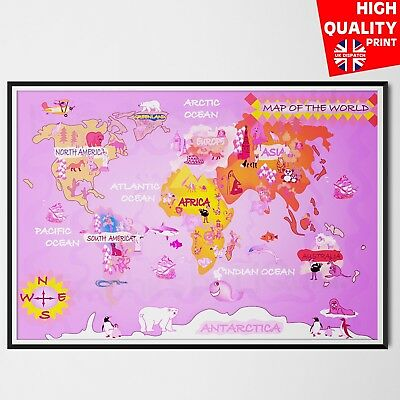 World Map Kids School Geography Poster Pink | A4 A3 A2 A1 |
