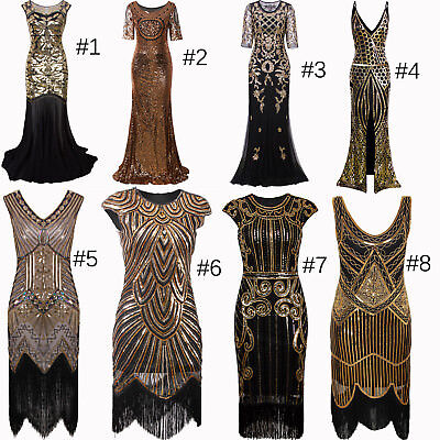 Vintage Style 1920s Dress Flapper Costume 20s Evening Gown Party Cosplay Dresses