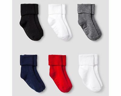 Cat & Jack Gripper Bobby Socks, Girls/Boys, Black/White/Red/Blue/Grey, Set of 6