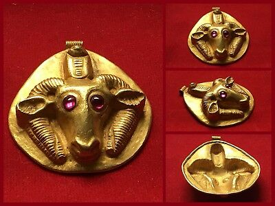 Rare Ancient Greco Scythian Gold Pendant With Rams Head Ruby Ey . C 350 / 400 AD